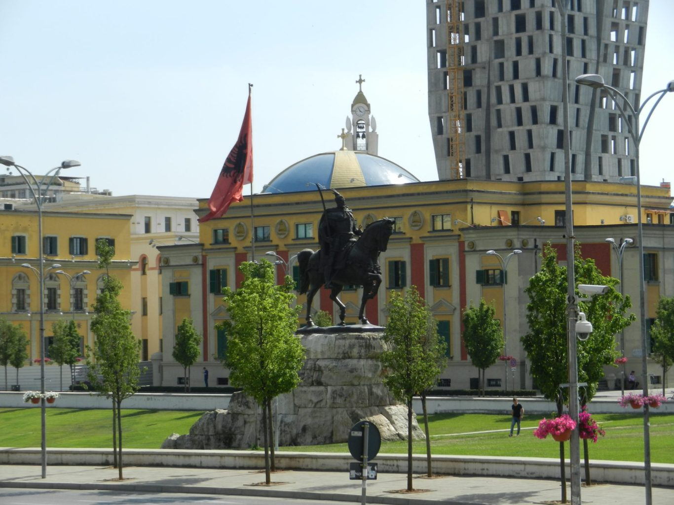 Skanderberg statue in Tirana, Albania.