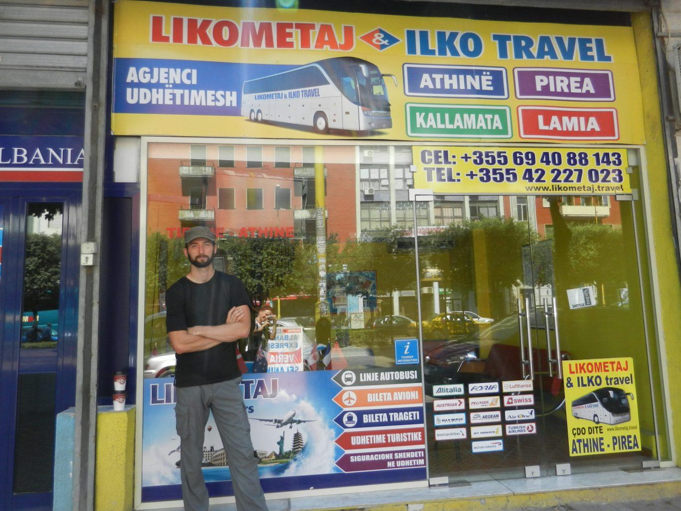 Nathanael waiting at the bus station in Tirana, Albania