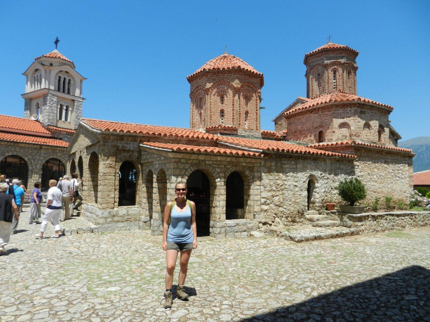 Ashleigh infront of St. Naum Monastery in Ohrid, Macedonia