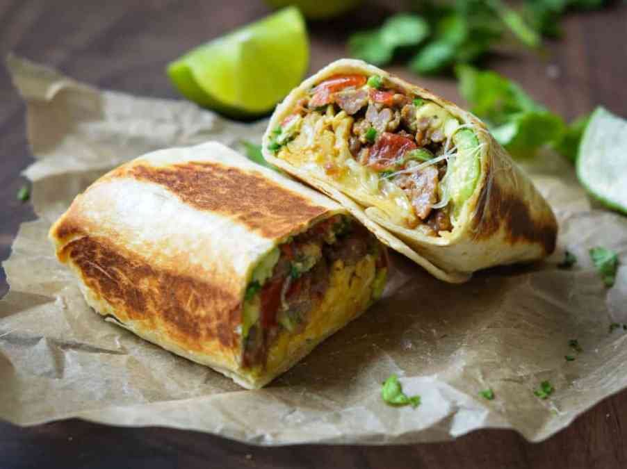high protein breakfast burrito