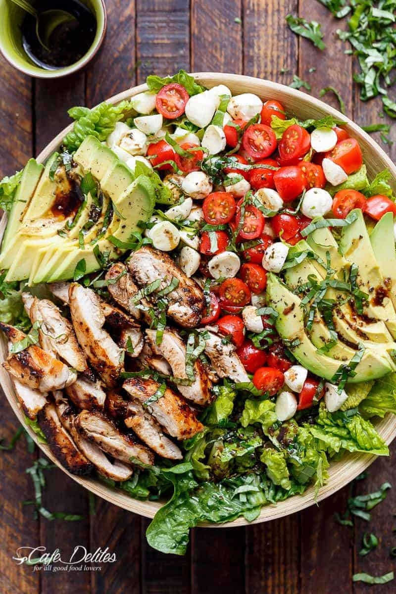 ealth and easy summer salad - chicken avocado caprese salad