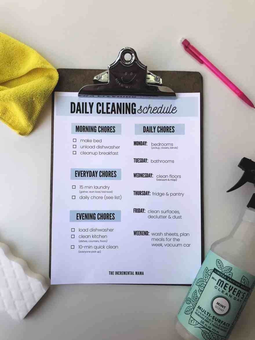 realistic cleaning schedule