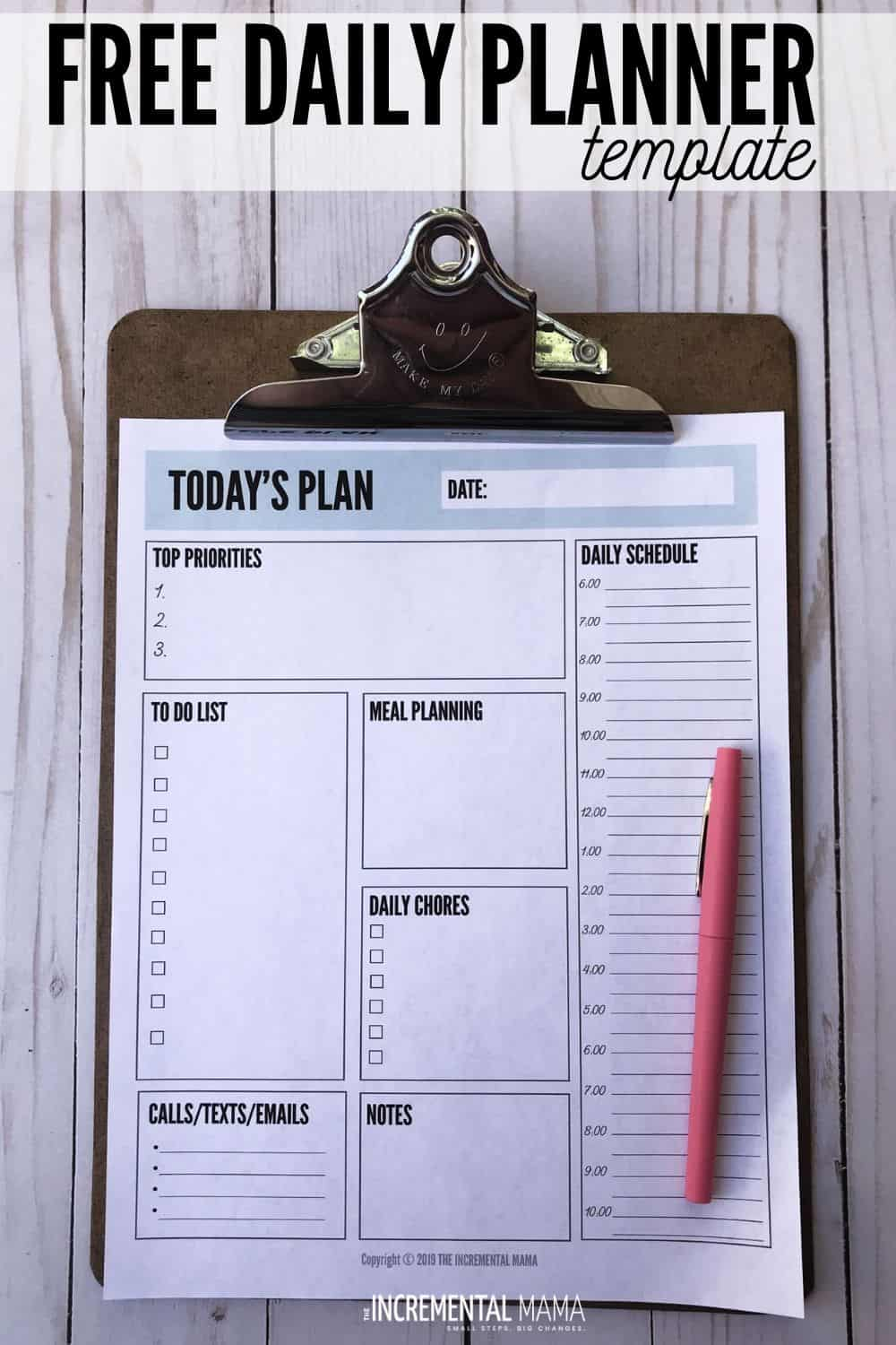 free printable daily planner with time slots