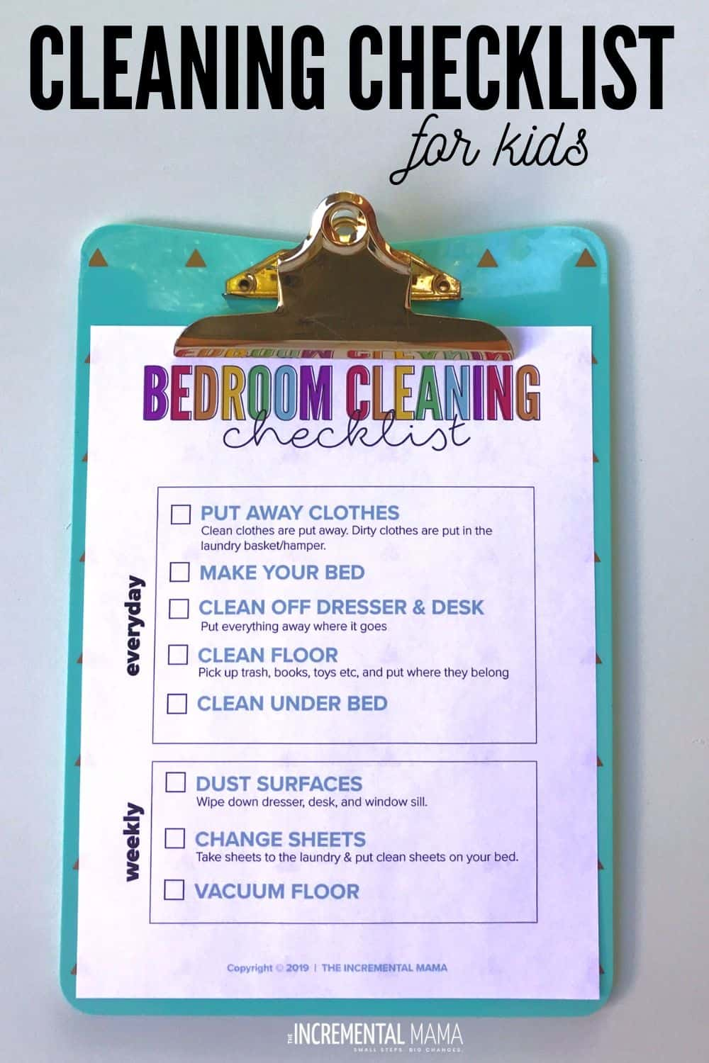 Bedroom cleaning checklist for kids