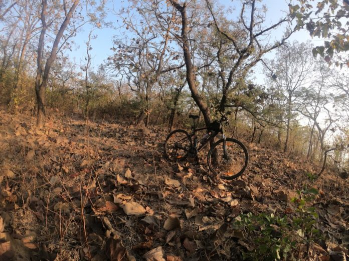 Bike in an off-road setting along the Khadakwasla Backwaters