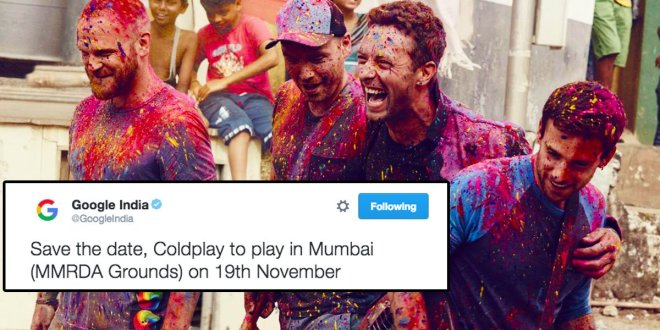 Coldplay coming to India Mumbai Google India Announced