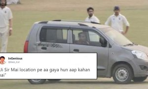 delhi man drives car on pitch