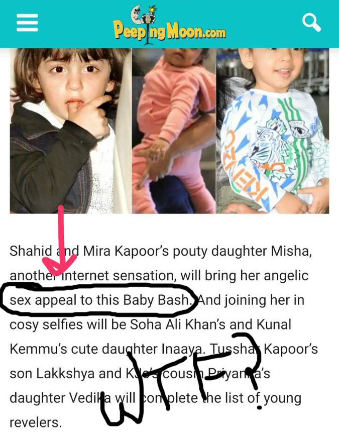 Peepingmoon article on Taimur and Misha