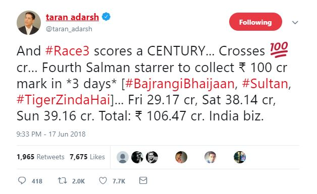 Race 3 collections