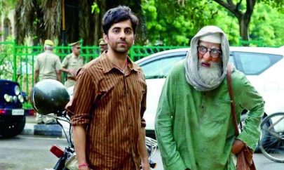 Amitabh bachchan and ayushman khurrana staning in a still from the movie