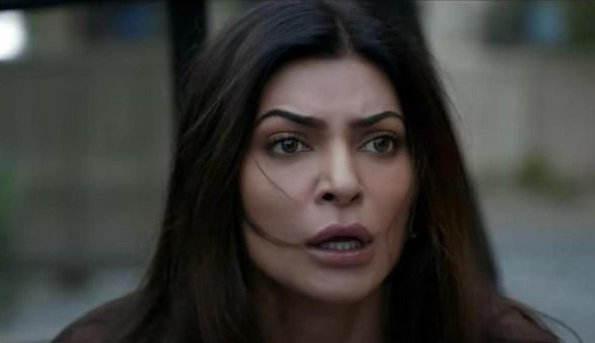 sushmita sen looking shocked in a scene from the trailer