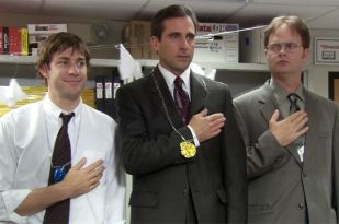 scene from the office with Michael, Jim and Kevin standing