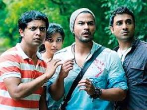 a scene from go goa gonewith three guys looking shocked for filmy friendship