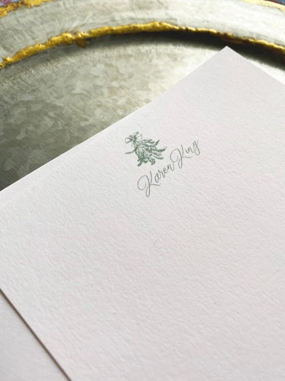 mistletoe stationery detail
