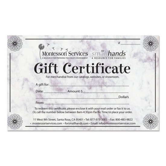 Montessori Services $50 Gift Certificate Giveaway! – NOW CLOSED