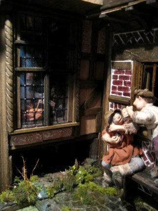 theinfill dolls house blog - Medieval, Tudor, Jacobean 1:12 dolls house – Porch working on the other side - building up the outside 'street'