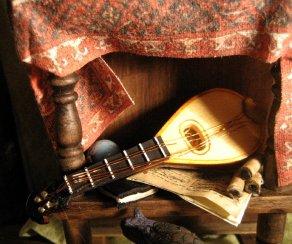 Bottom shelf of Ambassadors table. theinfill dolls house blog
