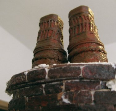 theinfill Medieval, Tudor, Jacobean 1:12 dolls house blog - the infill dolls house blog – Extended chimney pots with haberdashery added 2