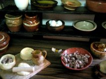 theinfill Medieval, Tudor, Jacobean dolls house blog - Hogepotche Hall –Hodgepodge Hall - main kitchen table surface