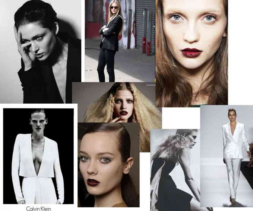 Photos of models on a mood board for fashion photography shoot.
