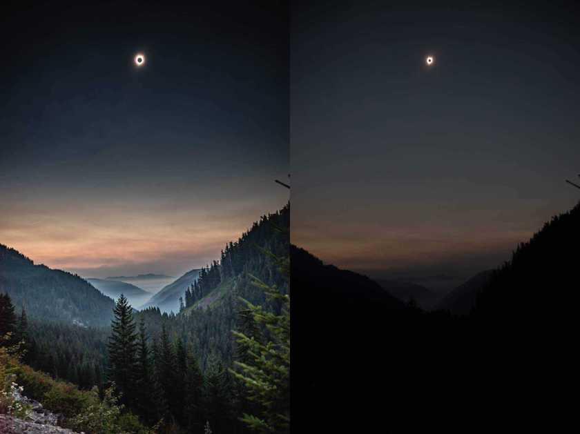 Photo of solar eclipse, left image well exposed RAW image, right image underexposed dark JPEG image.
