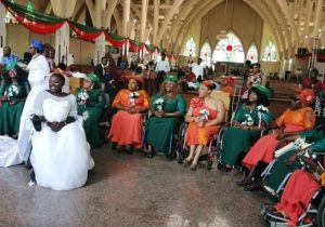 wheel 681x681 - Lovely Photos As Lady In Wheelchair Ties The Knot With Her Bridalmaids Also In Wheelchairs