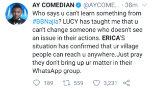 'Erica's situation has confirmed that your village people can reach you anywhere'– AY Makun
