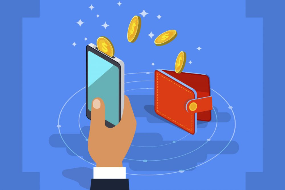 Cryptcurrency wallet illustration