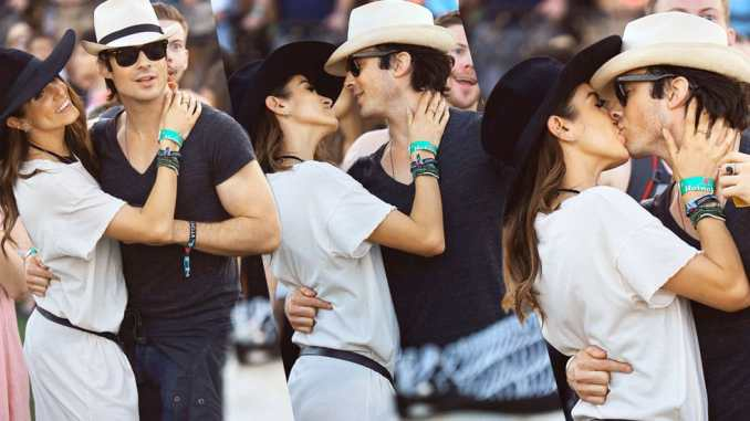 Ian somerhalder and Nikki Reed Share a kiss as they celebrate Valentine's day