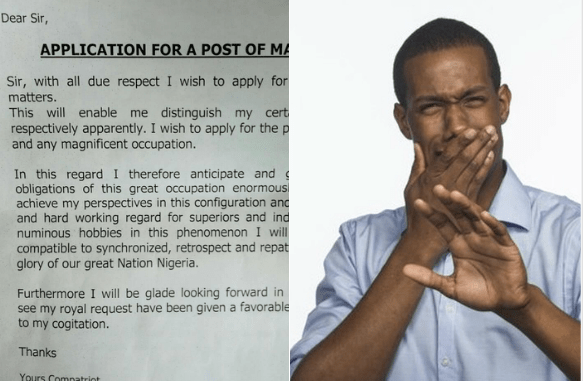 Twitter users are finding this application letter ridiculous knowing fully well that it was written by a female Nigerian graduate in Abuja!