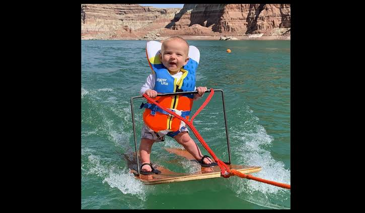 6-Month old goes water skiing like pro. Video left netizens awestruck