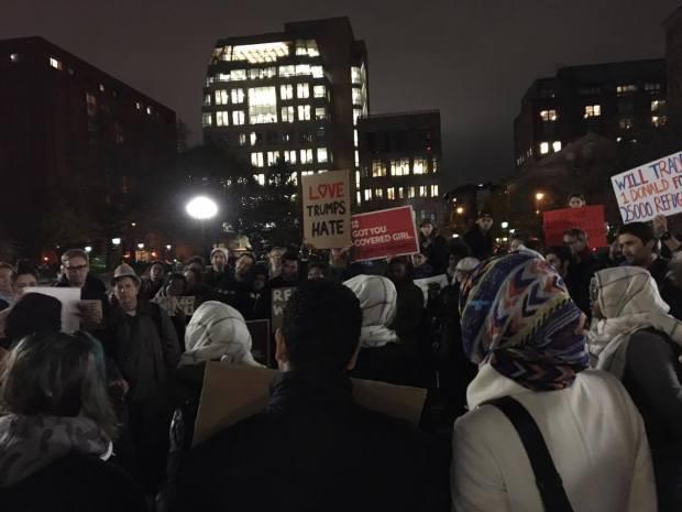 Protestors gathered together at Washington Square Park