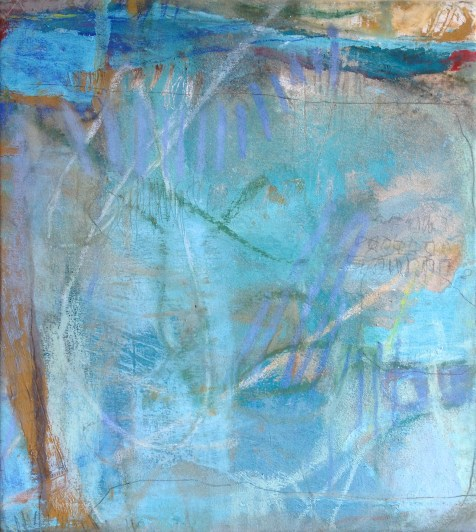 (SOLD) Grid in Blue - mixed media on canvas - 20x18 inches - 2013