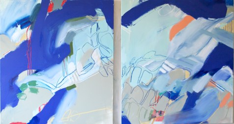 (SOLD) The Paradox of Rest and Run - mixed media on canvas - 42x74 inches - 2014