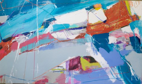 (SOLD) With Wings - mixed media on canvas - 36x61 inches - 2014