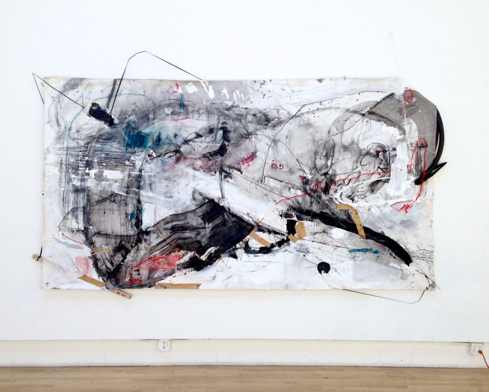 Mercy Over Rules - latex paint, ink, pastel, charcoal, papers, yardstick, string, elastic cords, and bicycle tires on canvas - 72x132 inches - 2015