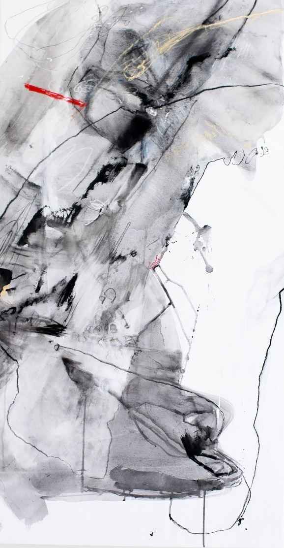 Torn, II - ink, charcoal, and soft pastel on canvas - 46x24 inches - 2015