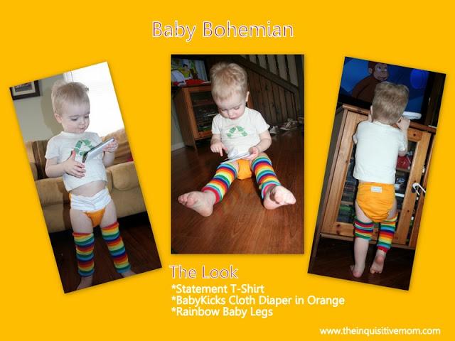 Baby Bohemian - Statement t-shirt, BabyKicks Cloth Diaper, and Rainbow Leg Warmers