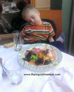 Sleeping at Dinner in Paris