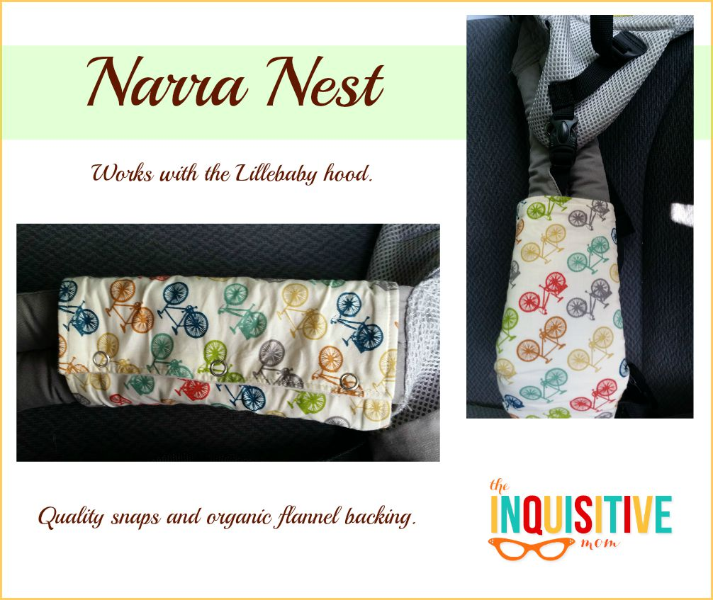 Narra Nest Organic Drool Pads Review. Work well with the Lillebaby hood.