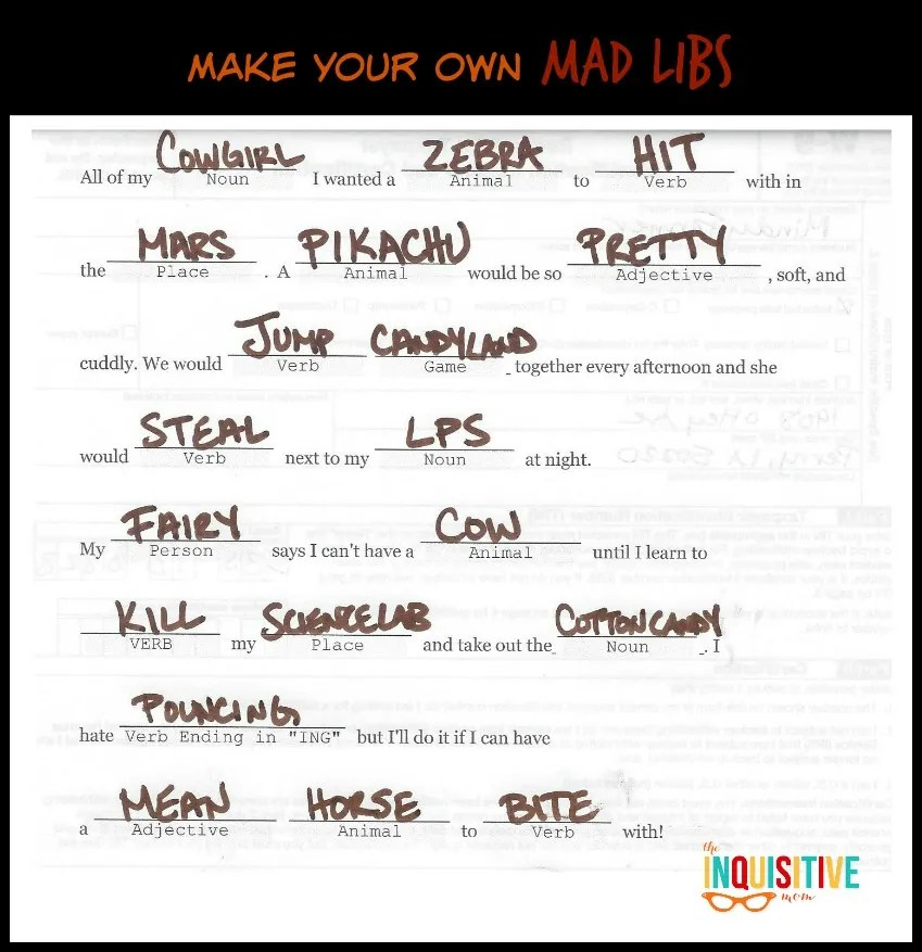 Make Your Own Mad Libs - Our Results.