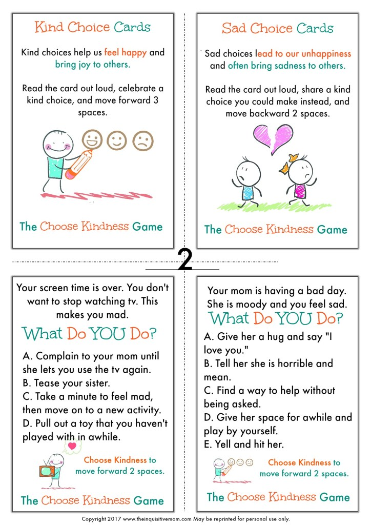 The Choose Kindness Game from The Inquisitive Mom Page 2