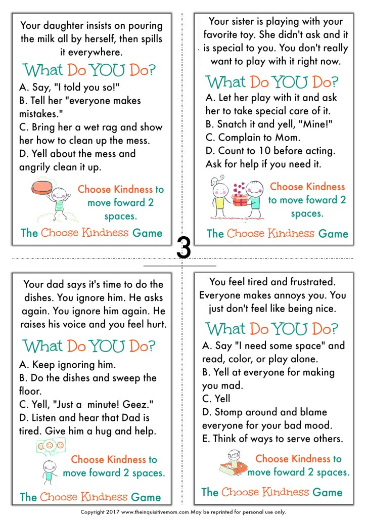 The Choose Kindness Game from The Inquisitive Mom Page 3