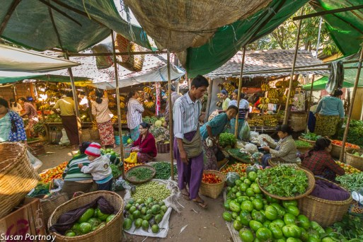 A wonderful tented green market in Mandalay. It was very pretty dark under the tarps and I had to kick up the exposure to enable you to see the spread.
