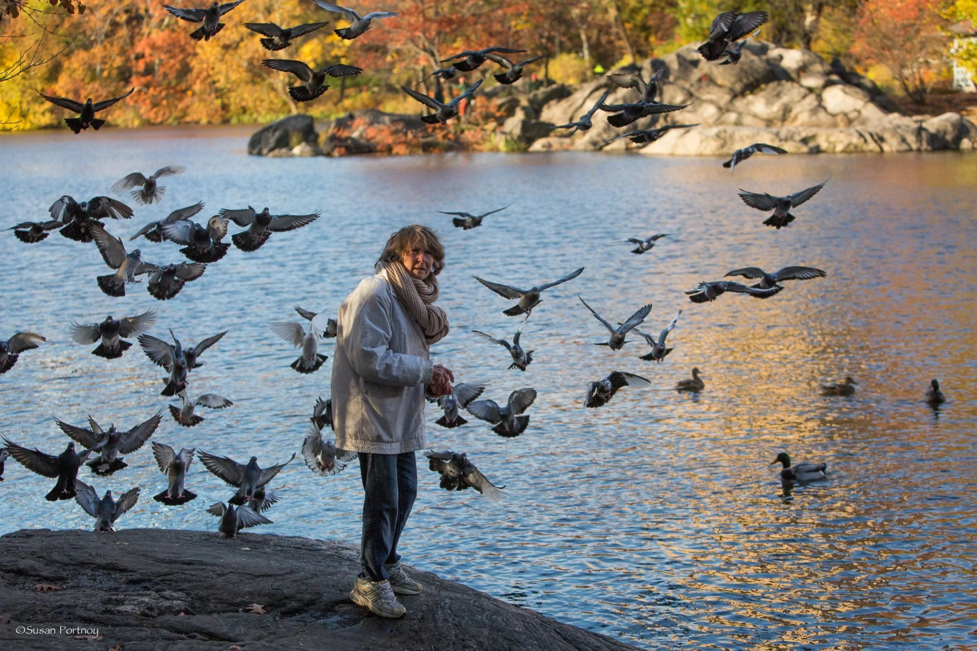 Lillian Bobo and pigeons in Central Park