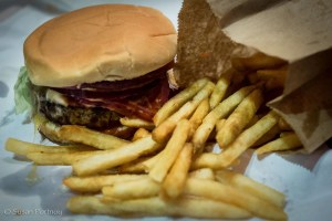 Hamburger and fries in Burger Joint in New York City