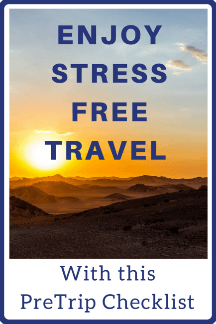 A pre trip checklist to follow before travel so you have a stress free vacation