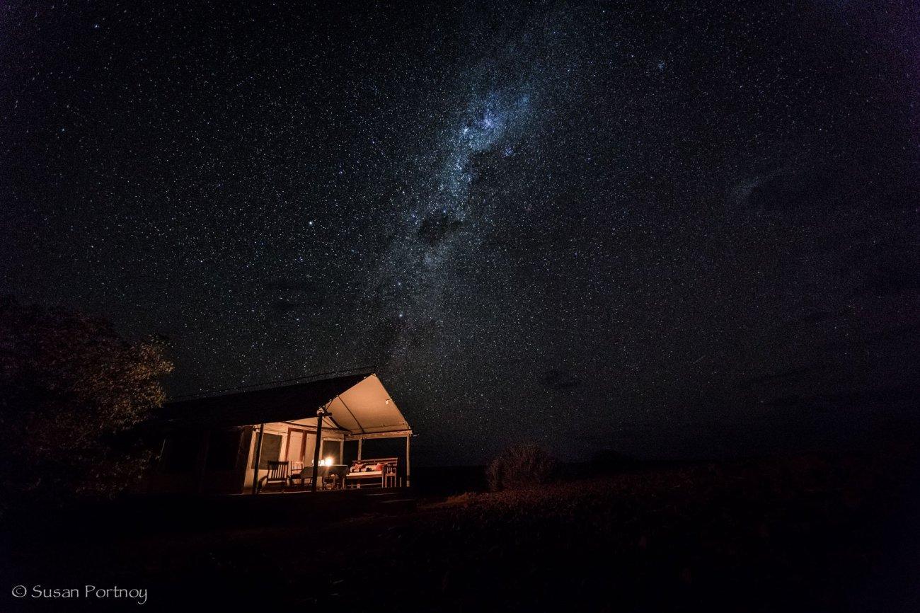 My tent under the Milky Way, Desert Rhino Camp, Namibia
