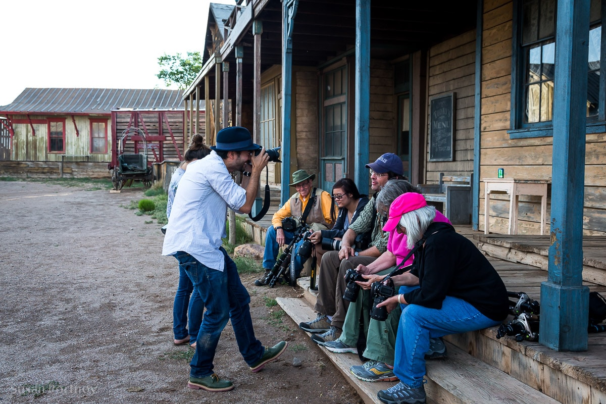 People in a photography workshop taking a break
