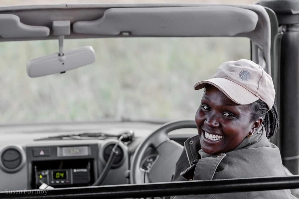 Alice, one of the few female guides in Kenya, at Angama Mara
